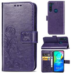 Embossing Imprint Four-Leaf Clover Leather Wallet Case for Motorola Moto G8 Power - Purple
