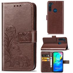 Embossing Imprint Four-Leaf Clover Leather Wallet Case for Motorola Moto G8 Power - Brown