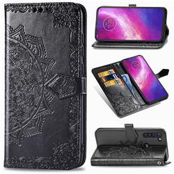 Embossing Imprint Mandala Flower Leather Wallet Case for Motorola Moto G8 Power - Black