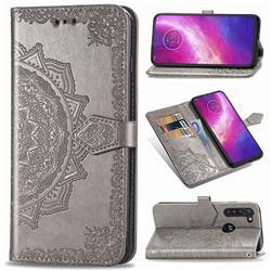 Embossing Imprint Mandala Flower Leather Wallet Case for Motorola Moto G8 Power - Gray