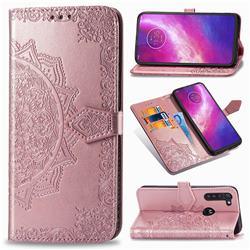 Embossing Imprint Mandala Flower Leather Wallet Case for Motorola Moto G8 Power - Rose Gold