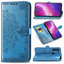 Embossing Imprint Mandala Flower Leather Wallet Case for Motorola Moto G8 Power - Blue