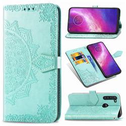 Embossing Imprint Mandala Flower Leather Wallet Case for Motorola Moto G8 Power - Green