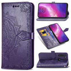 Embossing Imprint Mandala Flower Leather Wallet Case for Motorola Moto G8 Power - Purple
