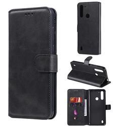 Retro Calf Matte Leather Wallet Phone Case for Motorola Moto G8 Power Lite - Black