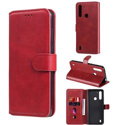 Retro Calf Matte Leather Wallet Phone Case for Motorola Moto G8 Power Lite - Red