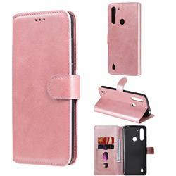 Retro Calf Matte Leather Wallet Phone Case for Motorola Moto G8 Power Lite - Pink