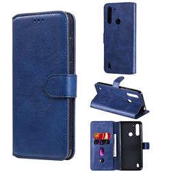 Retro Calf Matte Leather Wallet Phone Case for Motorola Moto G8 Power Lite - Blue