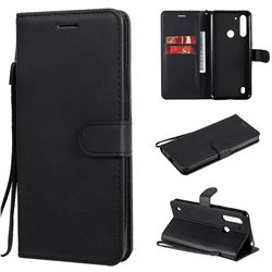 Retro Greek Classic Smooth PU Leather Wallet Phone Case for Motorola Moto G8 Power Lite - Black