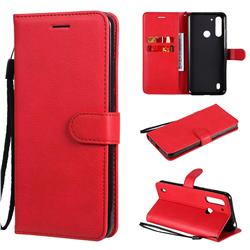 Retro Greek Classic Smooth PU Leather Wallet Phone Case for Motorola Moto G8 Power Lite - Red