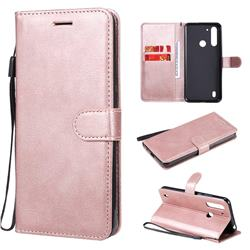 Retro Greek Classic Smooth PU Leather Wallet Phone Case for Motorola Moto G8 Power Lite - Rose Gold