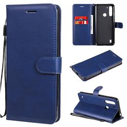 Retro Greek Classic Smooth PU Leather Wallet Phone Case for Motorola Moto G8 Power Lite - Blue