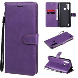 Retro Greek Classic Smooth PU Leather Wallet Phone Case for Motorola Moto G8 Power Lite - Purple