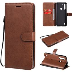 Retro Greek Classic Smooth PU Leather Wallet Phone Case for Motorola Moto G8 Power Lite - Brown