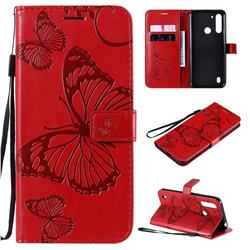 Embossing 3D Butterfly Leather Wallet Case for Motorola Moto G8 Power Lite - Red