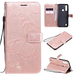 Embossing 3D Butterfly Leather Wallet Case for Motorola Moto G8 Power Lite - Rose Gold