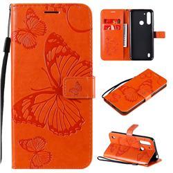 Embossing 3D Butterfly Leather Wallet Case for Motorola Moto G8 Power Lite - Orange
