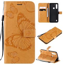Embossing 3D Butterfly Leather Wallet Case for Motorola Moto G8 Power Lite - Yellow