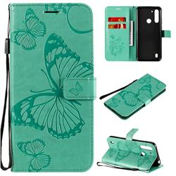 Embossing 3D Butterfly Leather Wallet Case for Motorola Moto G8 Power Lite - Green