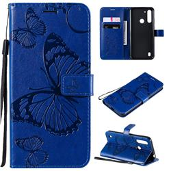 Embossing 3D Butterfly Leather Wallet Case for Motorola Moto G8 Power Lite - Blue
