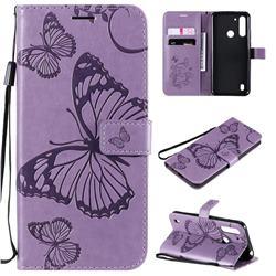 Embossing 3D Butterfly Leather Wallet Case for Motorola Moto G8 Power Lite - Purple