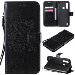 Embossing Butterfly Tree Leather Wallet Case for Motorola Moto G8 Power Lite - Black
