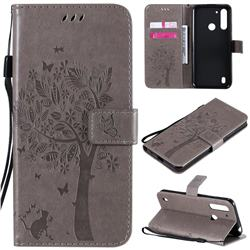 Embossing Butterfly Tree Leather Wallet Case for Motorola Moto G8 Power Lite - Grey
