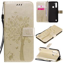 Embossing Butterfly Tree Leather Wallet Case for Motorola Moto G8 Power Lite - Champagne