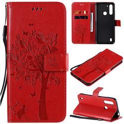 Embossing Butterfly Tree Leather Wallet Case for Motorola Moto G8 Power Lite - Red