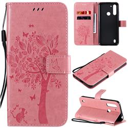 Embossing Butterfly Tree Leather Wallet Case for Motorola Moto G8 Power Lite - Pink
