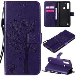Embossing Butterfly Tree Leather Wallet Case for Motorola Moto G8 Power Lite - Purple