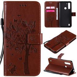 Embossing Butterfly Tree Leather Wallet Case for Motorola Moto G8 Power Lite - Coffee