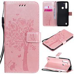 Embossing Butterfly Tree Leather Wallet Case for Motorola Moto G8 Power Lite - Rose Pink