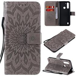Embossing Sunflower Leather Wallet Case for Motorola Moto G8 Power Lite - Gray