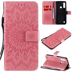 Embossing Sunflower Leather Wallet Case for Motorola Moto G8 Power Lite - Pink