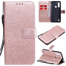 Embossing Sunflower Leather Wallet Case for Motorola Moto G8 Power Lite - Rose Gold