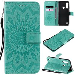 Embossing Sunflower Leather Wallet Case for Motorola Moto G8 Power Lite - Green