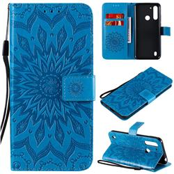 Embossing Sunflower Leather Wallet Case for Motorola Moto G8 Power Lite - Blue
