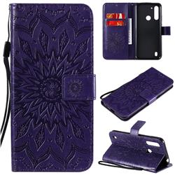 Embossing Sunflower Leather Wallet Case for Motorola Moto G8 Power Lite - Purple