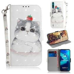 Cute Tomato Cat 3D Painted Leather Wallet Phone Case for Motorola Moto G8 Power Lite