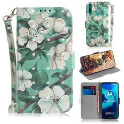 Watercolor Flower 3D Painted Leather Wallet Phone Case for Motorola Moto G8 Power Lite