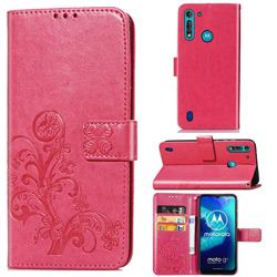 Embossing Imprint Four-Leaf Clover Leather Wallet Case for Motorola Moto G8 Power Lite - Rose Red
