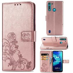 Embossing Imprint Four-Leaf Clover Leather Wallet Case for Motorola Moto G8 Power Lite - Rose Gold