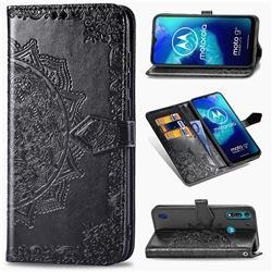 Embossing Imprint Mandala Flower Leather Wallet Case for Motorola Moto G8 Power Lite - Black