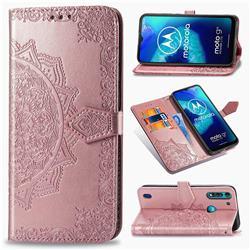Embossing Imprint Mandala Flower Leather Wallet Case for Motorola Moto G8 Power Lite - Rose Gold