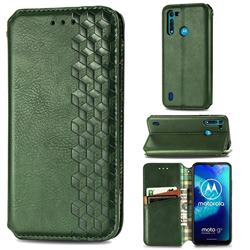 Ultra Slim Fashion Business Card Magnetic Automatic Suction Leather Flip Cover for Motorola Moto G8 Power Lite - Green