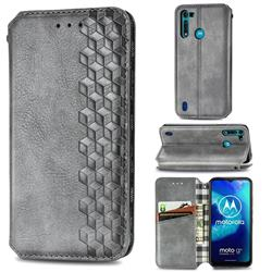 Ultra Slim Fashion Business Card Magnetic Automatic Suction Leather Flip Cover for Motorola Moto G8 Power Lite - Grey