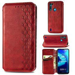 Ultra Slim Fashion Business Card Magnetic Automatic Suction Leather Flip Cover for Motorola Moto G8 Power Lite - Red