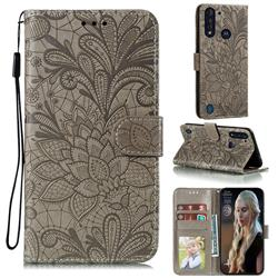 Intricate Embossing Lace Jasmine Flower Leather Wallet Case for Motorola Moto G8 Power Lite - Gray