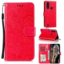 Intricate Embossing Lace Jasmine Flower Leather Wallet Case for Motorola Moto G8 Power Lite - Red